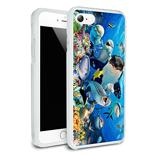 Underwater Ocean Selfie Orca Shark Dolphin Sea Turtle Coral Protective Slim Fit Hybrid Rubber Bumper Case Fits Apple iPhone 8