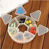 Arbor-Home-Round-7-Days-Pill-Box-Organizer-for-Medicine-Travel-White-Case-Weekly-Holder