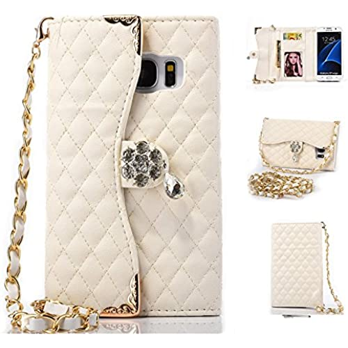 Galaxy S7 Edge Case,HYAIZLZ(TM)Galaxy S7 Edge Wallet Leather Flip Crystal Color Pendants Case for Galaxy S7 Edge With Long Chain,White Sales