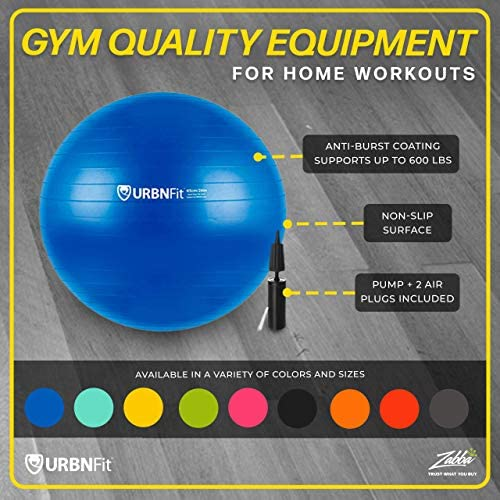 URBNFit Exercise Ball (Multiple Sizes) for Fitness, Stability, Balance