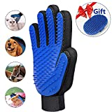 Pet Grooming Glove (2018 Upgrade) - UNOOE Cat Brush Deshedding Glove Pet Hair Remover Glove Pet Massage Bath Brush Mitt Tool with [259 Silicone Tips Increased 1mm] for Cat - Dog - Rabbit - Horse (Right-hand)