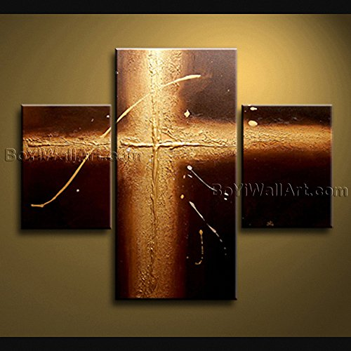 LARGE FRAMED Painting On Canvas Metalic Modern Abstract Textured Holly Cross Signed (Framed Original Art)