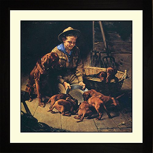 Norman Rockwell GOOD FRIENDS, 1927 Framed Boy Scouts Puppies Wall Hanging Art Gift