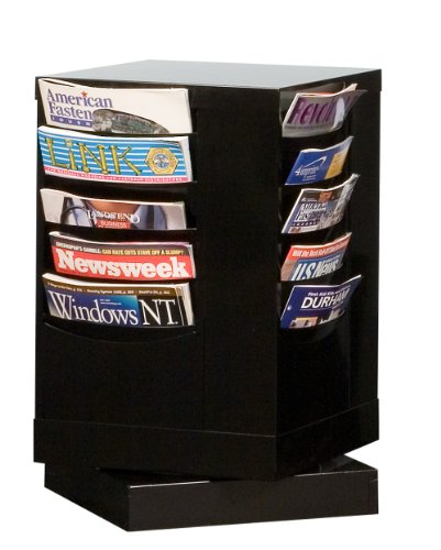 Durham 409-08 Black Cold Rolled Steel 20 Pocket Rotary Literature Rack, 14-1/8'' Width x 23-1/8'' Height x 14-1/8'' Depth by Durham