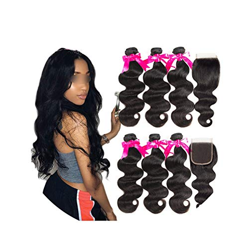 Hair 3 Bundles Peruvian Body Wave With Lace Closure Double Weft Remy Human Hair Bundles With Closure,22 22 22 & Closure20,Natural Color,Three Part