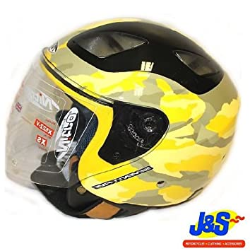 LARGE L 60 CMS, YELLOW CAMO NITRO X522 OPEN FACE MOD MOTORCYCLE MOTORBIKE SCOOTER TOUR HELMET CAMOUFLAGE J/&S