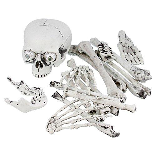 Halloween Haunters 18 Piece Bag of Skeleton Bones with Screaming Laughing Skull Prop Decoration - Flashing Bloodshot Eyes, Graveyard Human Body Part Set