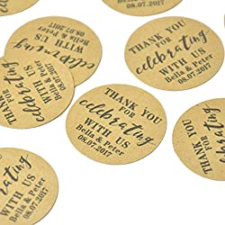 Personalized Wedding Stickers, Custom Favor Labels,Wedding Favor Stickers,Rustic Design Favor Labels,Kraft Stickers