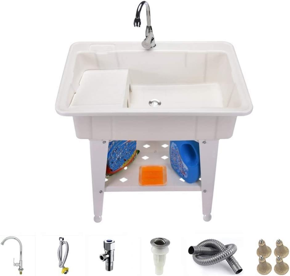Grief Grocery Store Removable Laundry Tub Bathtub with Adjustable Metal Legs,Installation Kit and Washboard-2622