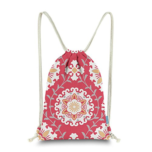Miomao Drawstring Backpack Gym Sack Pack Dahlia Style Floral Sinch Sack Canvas String Bag Beach Cinch Pack For Men & Women 13 X 18 Inches Flame Scarlet]()