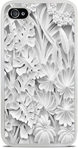 Flowers and Leave Marble Sculpture Motif White Silicone Case for iPhone 4 / 4S by Moonlight Printing