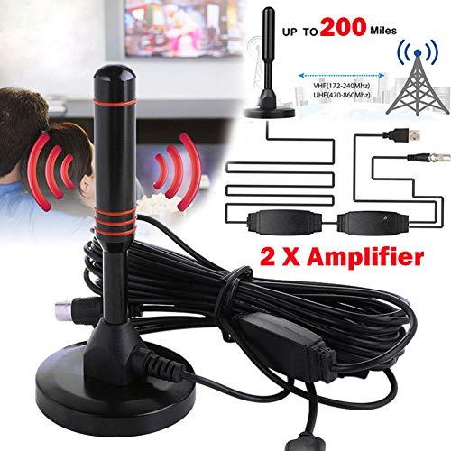 Cathery 100 Mile 25dBi - Amplificador de Antena de televisión Digital para Interiores con TDT - DVB-T2