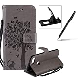 Strap Leather Case for Huawei P Smart,Bookstyle Magnetic [Grey Solid Color] Stand Flip Case for Huawei P Smart,Herzzer Premium Elegant Butterfly Tree Cat Print Fold Wallet Folio Smart Case For Huawei P Smart + 1 x Black Cellphone Kickstand + 1 x Black Stylus Pen