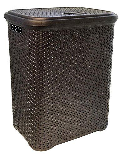 Wee's Beyond W08-1106-ES Rattan Style Laundry Hamper 55 Liters, Brown - Es Plastic Handle
