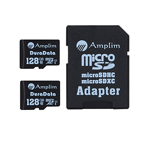 2X 128GB Micro SD SDXC Memory Card Plus Adapter Pack (Class 10 UHS-I U1 MicroSD XC Extreme Pro) 128 GB Ultra High Speed 90MB/s 600X Read UHS-1 MicroSDXC Flash. Amplim Cell Phone Tablet Camera 128G TF