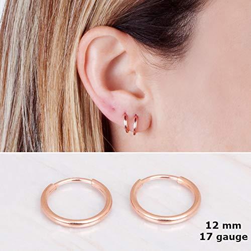 Tiny Rose Gold Filled Hoop Earrings - Designer Handmade 12mm Delicate Pair of Hoops