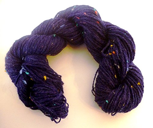 Dark Blue with Multicolor Wool Slubs Sock Yarn Two - Rowan Tweed Soft