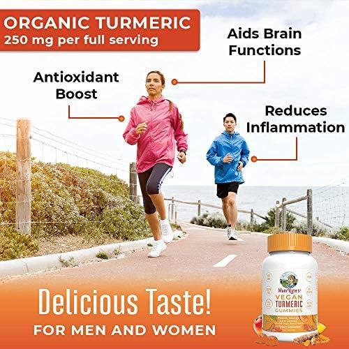 Vegan Turmeric Gummies by MaryRuth s – Organic Turmeric Curcumin Extract – Anti-inflammatory – Antioxidant – Brain Function – Chewable – Non-GMO – Peach, Mango Lemon – 250 mg per serving – 120 count