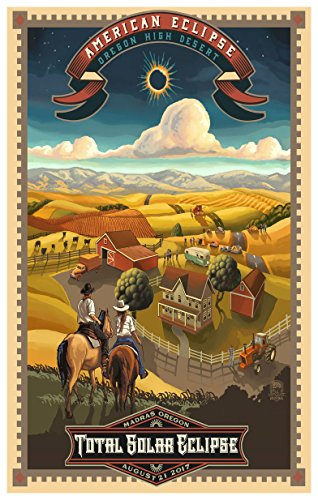 Madras, Oregon Eclipse Art Poster by Artist Paul Lanquist (12 x 18 inch). Giclee Print for Bedroom, Family Room, Kitchen, Dorm Room or Office Wall - Portland Malls Maine In