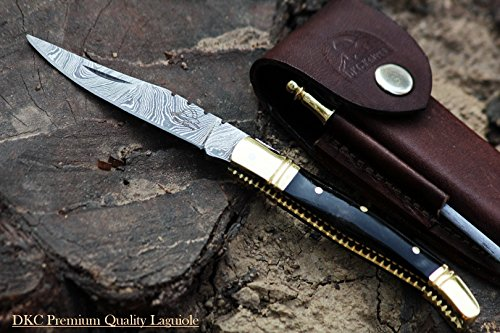 DKC Knives (40 5/18) DKC-62-BL BLACK PRINCE Laguiole Damascus Steel Folding Pocket Knife 4
