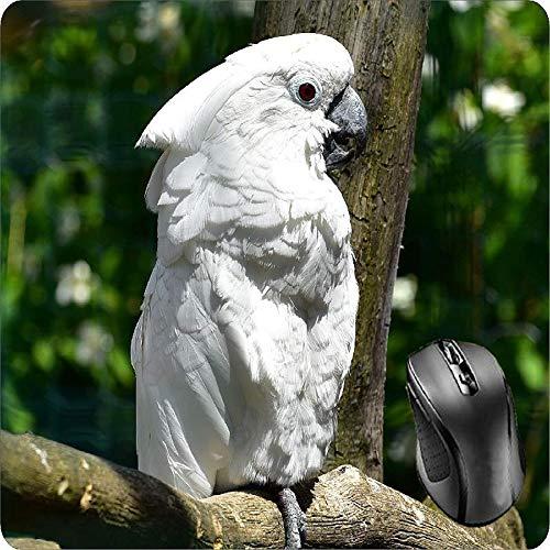 BGLKCS Mouse Pad Fabric Topped Rubber Backed Cockatoo Bird Animal World Birds Black Plastic