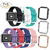 (US) NaHai For Fitbit Blaze Slim Bands with Frame, TPU Replacement Sport Strap with Rose Gold Frame for Fitbit Blaze Smart Fitness Watch, Large Small (3 Frames + 7 Pcs Bands)