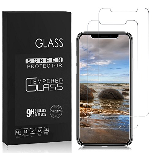 iPhone X Screen Protector, Basse 2 Pack HD Hard Tempered Glass Ultra Clear Shatter Proof Screen Protector for Apple iPhone X/ iPhone 10 (2017)