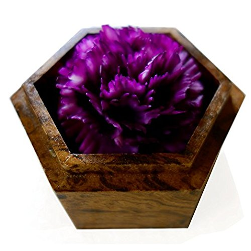 Thai Hand-Carved Soap Flower, 4 inch Scented Soap Carving, Purple Carnation in Decorative Hexagonal Pine Wood Case