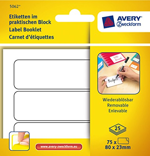 Avery Dennison 80 x 23mm Multi-Usage Removable Adhesive Labels for Handwriting in Pad Format - White (Pack of 75)
