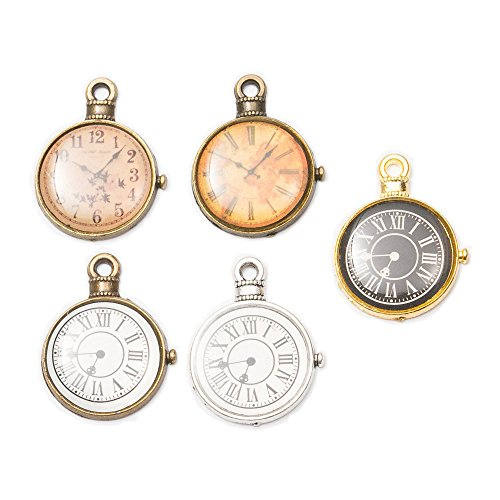 15pcs Mixed Antique Silver Plated Vintage Charms Clocks and Watches Dial Face Charm Pendants for DIY Jewelry Making Accessories 25x19x2mm (15pcs)