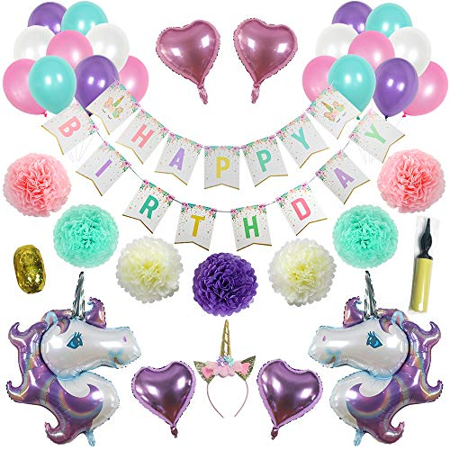 Unicorn Party Supplies RevyzeD | Unicorn Headband, Unicorn Balloons, Unicorn Birthday Banner, Unicorn Birthday Party Decorations | Let's Create Amazing | Set Contains 33 pcs -