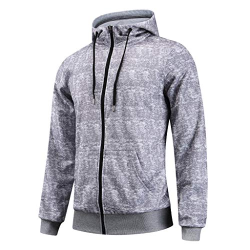 Lookatool LLC Men's Fashion Casual Hoodie Printing Zipper Patchwork Long Sleeves Jacket Coat ()