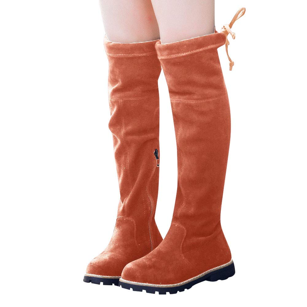 Fheaven Children Kid Girls Over The Knee Boots Warm Flock Boots Autumn Winter Shoes (4.5-5T, Brown)