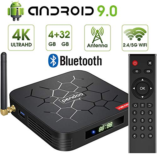 Android 9.0 TV Box, Pendoo X6 PRO Android TV Box 4GB RAM 32GB ROM, Dual-WiFi 2.4GHz/5GHz Bluetooth Quad Core 64 Bits 3D/4K Full HD/H.265/USB3.0 Android Box (Cody Box)
