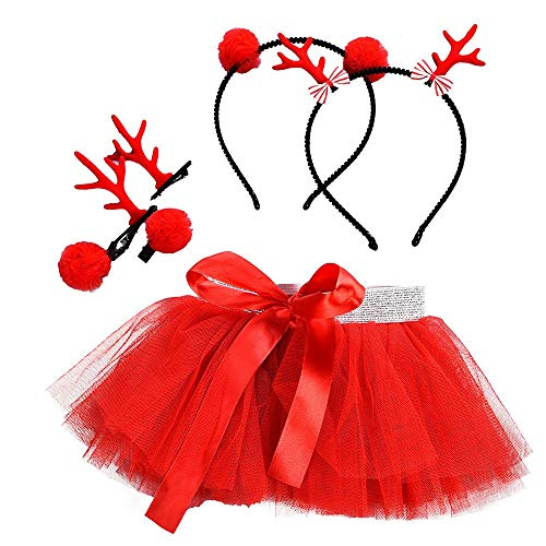 MOONHOUSE Xmas Toddler Baby Girl Tutu Ballet Skirts,Fancy Christmas Party Princess Dress + Hair HoopOutfits Costume Clothes (2-3 T, Red) -