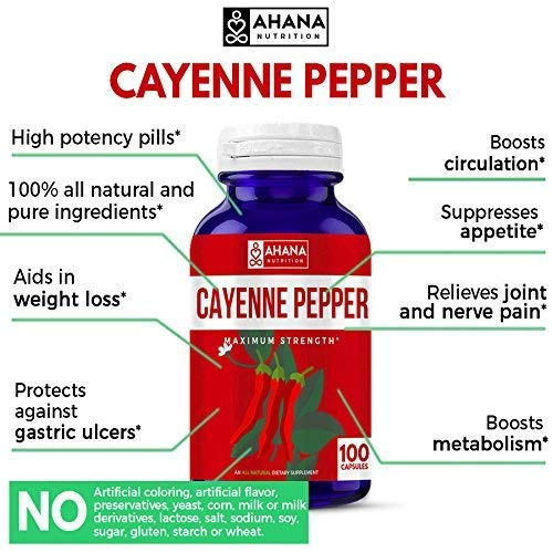 Ahana Nutrition Cayenne Pepper Capsules 450mg - Aids Weight Loss, Supports Circulation & Helps to Suppress Appetite (100 Capsules)