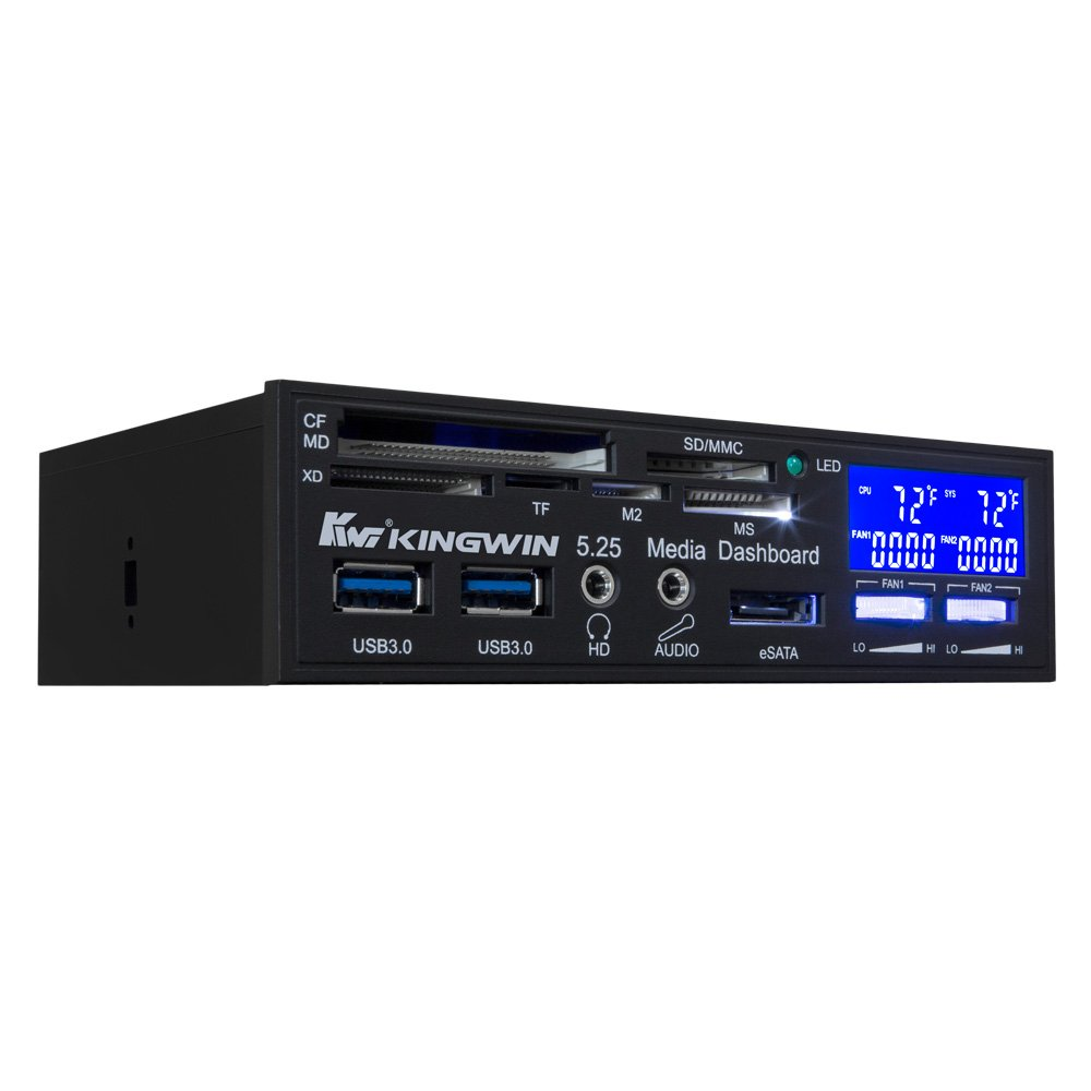"""Kingwin Performance 4 Channel Fan Controller Panel w/ Wide LCD Display, Turn Knob Control, Temperature Monitor, Overheat Alarm, and Fan RPM Display. Fits 5.25"""" Bay, and Easy Control of Your PC Fans KWI Technology Inc./Kingwin FPX-008"""