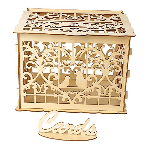 Hylotele DIY Wooden Wedding Card Box with Lock and Card Sign Rustic Hollow Gift Card Holder for Reception Wedding Anniversary Party Decoration (Mailbox Gift Card Holder)