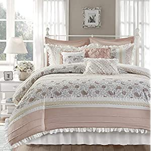 Madison Park Dawn 9 Piece Duvet Set 100% Cotton Paisley, Pintucked Design, Lace Accent, Embroidered Toss Pillows, Shabby Chic, All Season Comfoter Cover, Matching Shams, Bedskirt, King, Blush