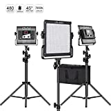 GVM LED Video Light kit with Stand Dimmable 2300K~6800K Bi color LED photography Light Panel for YouTube Studio Photography, Video Shooting(3 pack)