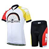 JT-Amigo Unisex Boys Girls Cycling Jersey Set (Short Sleeve Jersey + Padded Shorts), White 4-5 Years (Manufactory Size M)