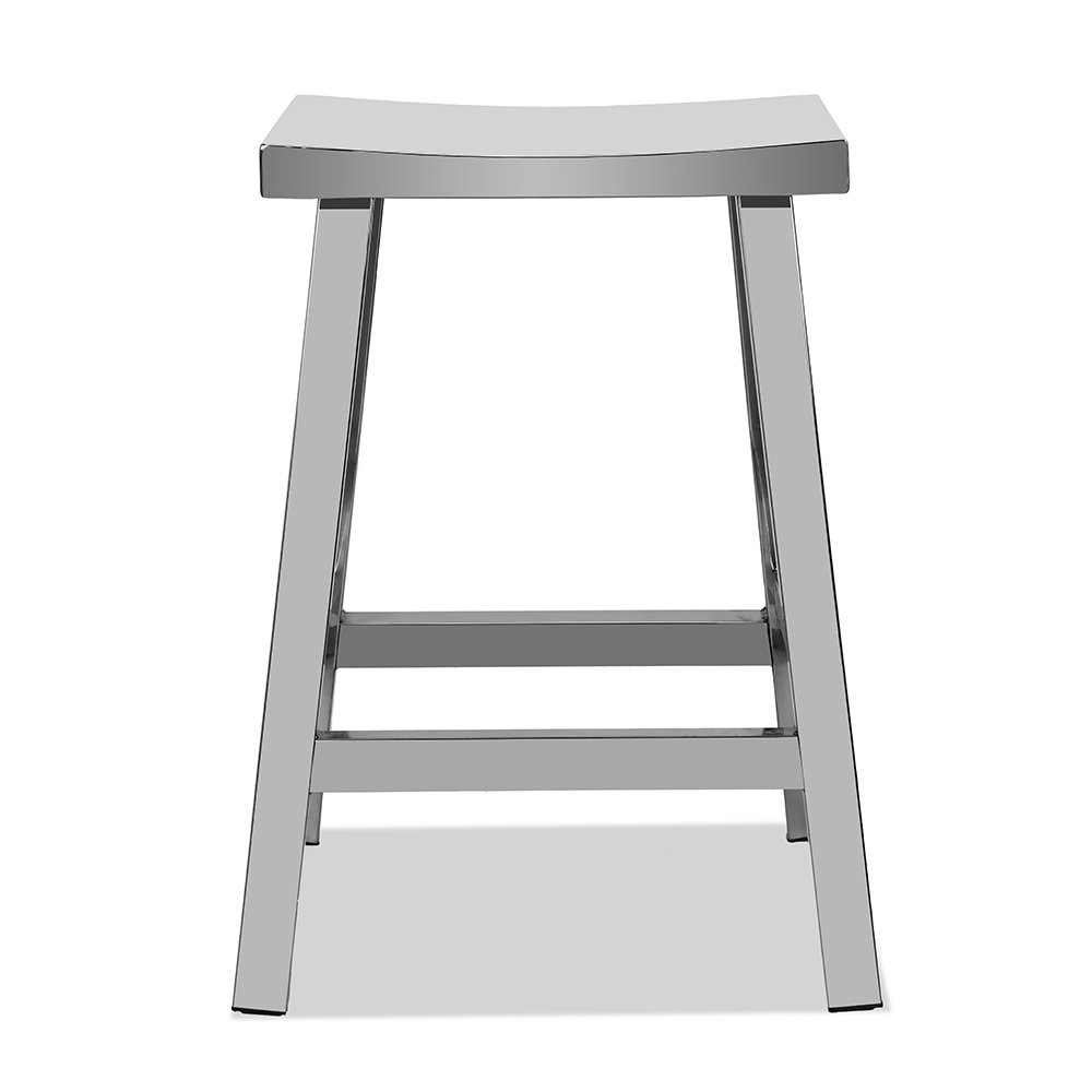 CHAIR DEPOTS Kupa Stainless Steel Saddle Seat Counter Stool, Hand Polished Finish by CHAIR DEPOTS (Image #2)