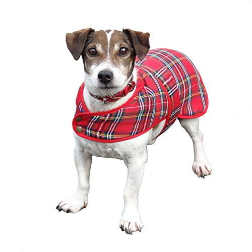 Lovely Shower-proof Poly Viscose Royal Stewart Tartan Dog Coat with Fleece Lining- Available in 3 sizes