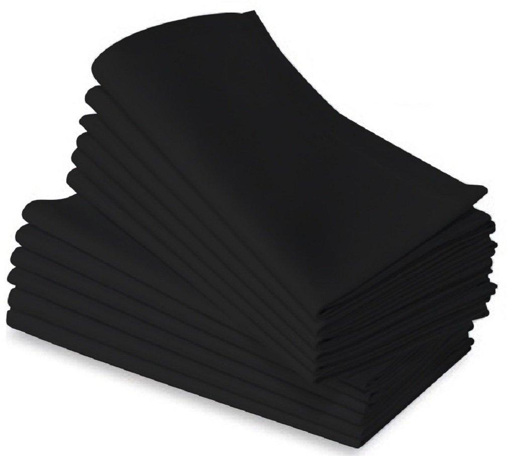 Elegant BLACK Cloth Dinner Napkins - 36pk