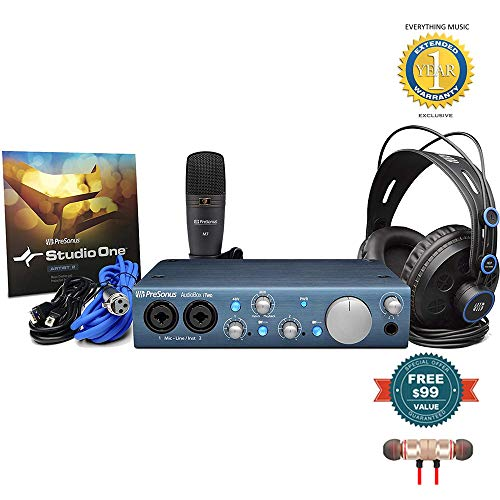 Presonus AudioBox iTwo Studio Complete Mobile Hardware/Software Recording Kit includes Free Wireless Earbuds - Stereo Bluetooth In-ear and 1 Year Everything Music Extended Warranty
