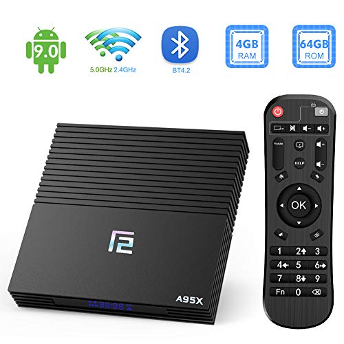 TUREWELL Android 9.0 Smart TV Box, F2 TV Box Android 9.0 Amlogic S905X2 Quad-core 4GB RAM 64GB EMMC ROM with Digital…