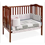 Baby Doll Bedding Croco Minky Mini Crib/Port-a-Crib Bedding, Pink/Grey
