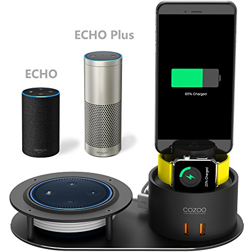 COZOO Echo dot Holder Apple Watch Charger Stand 5 Port USB Charging Station Phone Dock Mount for Echo Dot 2nd Generation/Echo Plus/iWatch Series 3/2/1/AirPods/iPhone X/8/8 Plus/7/6 NightStand Series Watch College Watches