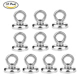 Wukong 1.26''D X 1.38''H Powerful Heavy Duty Neodymium Magnetic Hooks with Eyebolt, Strong, Permanent, Rare Earth Magnets,65 LB Pulling Forces for Multi-Use (10 Packs)