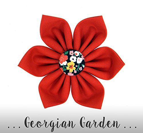 Red Flower for Collar/ Floral Bow Collar Attachment: Georgian Garden FLOWER ONLY -